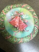 Vintage Christmas Card Round Pink Red Bells Wreath Berries Dove Jingle