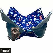 Fulue Ferret Rat Hammock Bed, Nation Cage Blue 13.8x13.8inch