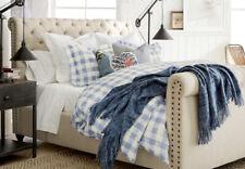 Pottery Barn Rhett Check Organic Percale Duvet Cover & Shams - Full/Queen- Blue
