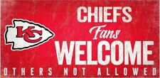 """Kansas City Chiefs Fans Welcome Others Not Allowed Wood Sign - NEW 12"""" x 6"""""""