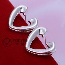 Wholesale Women Heart  Silver Stud Earring Gift Jewelry + Box