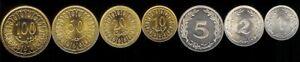 TUNISIA 1-100 MILLIM 1960-07 7 pc Coin Set KM280-348 UNCIRCULATED