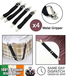 4Pcs Elastic Bed Sheet Grippers  Mattress Fasteners Straps Clip Holder Strap