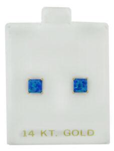 GENUINE 0.94 Cts OPAL STUD EARRINGS 14K GOLD ** Free Certificate Appraisal **