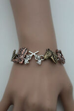 Women Silver Metal Bracelet Fashion Jewelry Western Texas Rodeo Horse Boot Charm