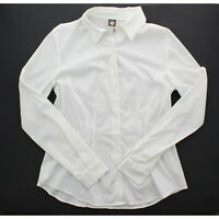 Anne Klein Women's Button Down Long Sleeve Dress Blouse Shirt, White
