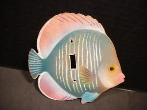 Bovano of Cheshire Handcrafted Enamel Metal Tropical Fish Light Switch Cover EUC