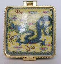 Jingdezhen Porcelain jewelry box painted ancient Chinese flying dragons NICE NR