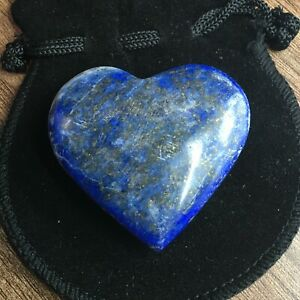 Lapis Lazuli Crystal Heart - 40-45 mm width with Free Black Velvet Pouch