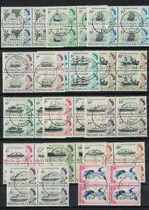 tristan da cunha stamps - ship issue 1965 - superb blocks to 10 shillings rare