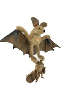 Steiff Mohair Eric the Bat Set with Neck Tags Vintage 1960's Germany Plush