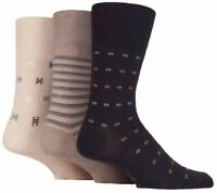 3 Pairs Mens Brown Beige Patterned Mix Cotton Gentle Grip Socks, UK Size 6-11