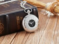 Hollow Flower Quartz Women Men Pocket Watch Silver Necklace Pendant Chain Gift