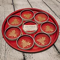 VTG Toleware Round Tray 8 Coasters Red Gold Grapes Metal Beverage Serving Set