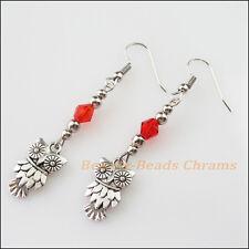 Winsome Silver Retro Owl Red Crystal Dangle Hook Earrings Women Jewelry