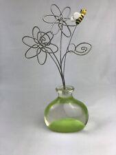 Metal Flowers & Acrylic Vase Figurine w/ Bumble Bee 8.5�