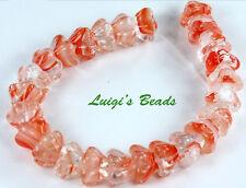 25 Crystal Red/White Czech Glass Beads Bell Flower 8x6mm