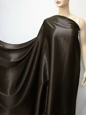 "by the metre ""dark brown"" pure silk fabric satin charmeuse plain crepe back"