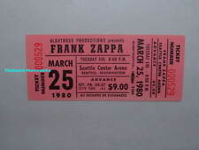 FRANK ZAPPA Unused 1980 GLOBE Concert Ticket SEATTLE Center Arena MEGA RARE