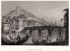 VERONA: Adige,Ponte Pietra,Colle San Pietro,Castello. ACCIAIO.Stampa Antica.1829