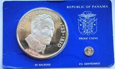 Panama 1976 Bolivar 20 Balboas 3.85oz Set of 2 Silver Coins,Proof