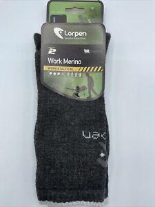Lorpen Wool Work Merino Tactical T2 Crew Socks Charcoal Sz Lg New