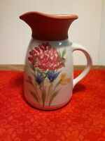 """EMERSON CREEK POTTERY Handpainted Redware Pitcher w/ Handle """"91"""" """"NICE"""""""
