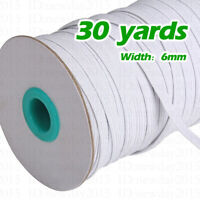 30 yards (1/4inch) White Flat Elastic Band for DIY Trim Sewing Cord For Mask