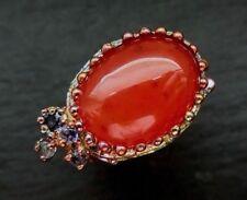 Karneol Vintage Unikat Ring 925 Sterlingsilber Handarbeit 44,5ct Größe 59 R752