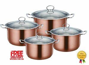 SQ PRO Metallic Stainless steel 4pc cooking/casserole pot set 20-26cm, Axinite