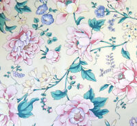 """54"""" WAVERLY FLORAL COTTON UPHOLSTERY FABRIC BY YARD BOTANICAL FLOWERS ON YELLOW"""
