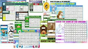 Football Team & Guess the Name scratchcards Match and Win Fundraising Card Game