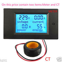 Digital LED Power Panel Meter Monitor Power Energy Voltmeter Ammeter 100A AC
