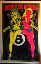 Double Or Nothing Original Vintage Blacklight Poster Rare Lady Luck Miss Fortune