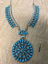 Navajo Native American Turquoise Cluster Necklace Juliana Willia Stunning Wow #1