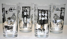"Vintage Atomic Period Rare Htf Libbey ""Home Furnishings"" Cocktail Bar Glasses 4"