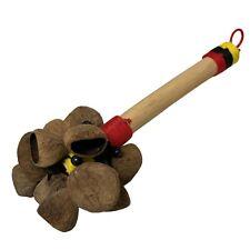 Natural Seed Rattle Shaker Maracas Native art Handwork Percussion Wood Handle