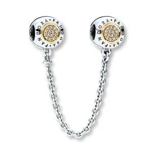 New Genuine Silver Pandora Signature Safety Chain Two Tone Gold 796269CZ