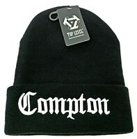 COMPTON Skull Cap Cuff Beanie Cuffed Hat CPT South Central Los Angeles Black NWT