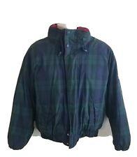 Vintage Tommy Hilfiger Blue Flag Logo Plaid Jacket Coat Size Large