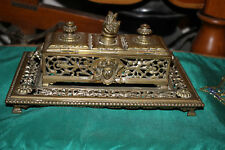 Antique Victorian Art Deco Brass Metal Inkwell-Angel Devil Faces-Scrolls