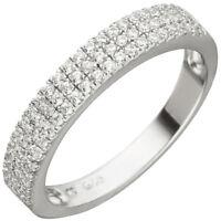 Ring mit 69 weißen Zirkonia in 3 Reihen 925 Silber Fingerschmuck für Damen