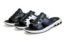Mens summer lace up slippers flat heel slip on hollow out round toe shoes new