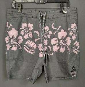 Billabong Gallery Boardshorts Swim Trunks Men Size 32 Pink And Gray Floral...