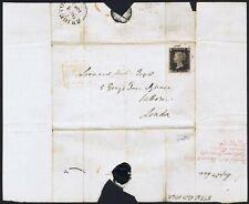 1840 1d Black Pl 1b SF Fine Used BRIGHTON MX on RARE TURNED COVER