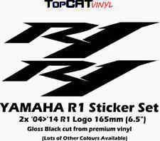 """YAMAHA R1 Sticker 2x Decals 6.5"""" Gloss Black Vinyl YZF R1 lots of other colours"""