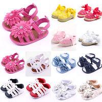 Baby Girls Flower Princess Summer Sandals Crib Shoes Toddler Prewalk Flat Shoes