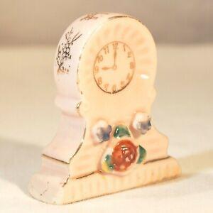 Occupied Japan miniature mantel clock porcelain figurine pink gold white