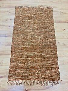 Brown Beige Eco Friendly Cotton Rich Washable Reversible Durrie Rugs 90x150cm