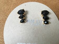 Chan Luu NWT Sterling silver 18kt GP black onyx 3 stone earrings